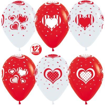 Воздушный шар Множество сердец белый/красный (30 см)