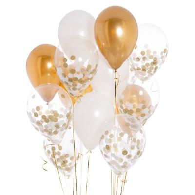 Композиция с шарами с конфетти Золотое небо