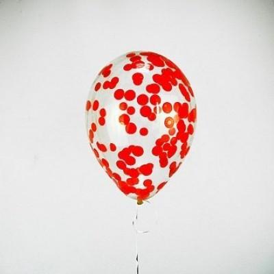 Шар с конфетти Красные круги