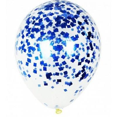 Шар с конфетти Синие квадратики