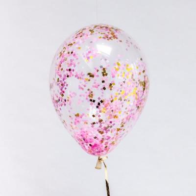 Шар с конфетти Розово-золотые квадратики