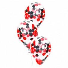 Шар с конфетти Черно-красные круги