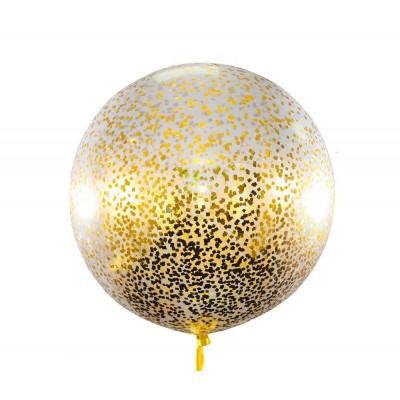 Шар гигант прозрачный с золотым конфетти