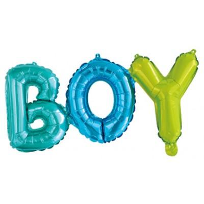 """Фольгированный шар-фигура надпись """"Boy"""" разноцветная (69 см)"""