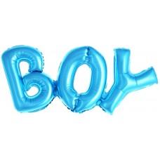 """Фольгированный шар-фигура надпись """"Boy"""" голубая (84 см)"""