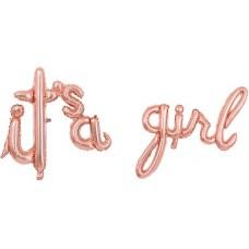 """Фольгированный шар-фигура мини-надпись """"It`s a Girl"""" розовое золото (41 см)"""
