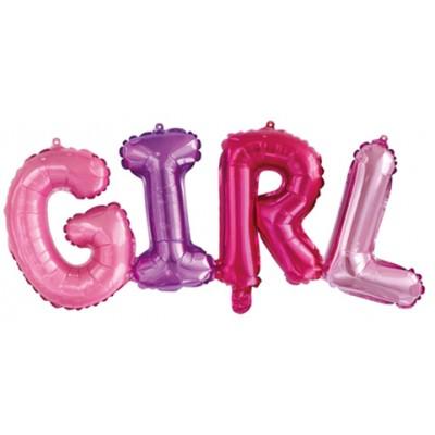 """Фольгированный шар-фигура надпись """"Girl"""" разноцветная (109 см)"""