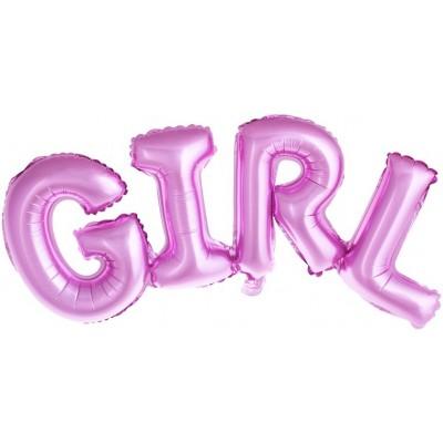 """Фольгированный шар-фигура надпись """"Girl"""" розовая (112 см)"""