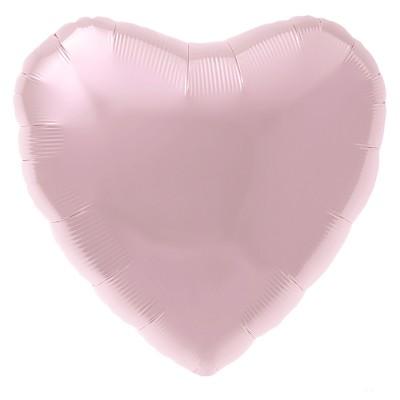 Фольгированный воздушный шар-сердце нежно-розовый (48 см)