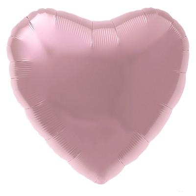 Фольгированный воздушный шар-сердце розовый фламинго (48 см)