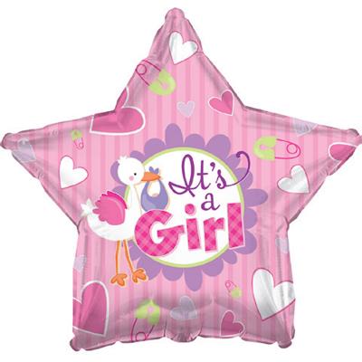 """Фольгированный воздушный шар-звезда """"Аист принес девочку"""" розовый (46 см)"""