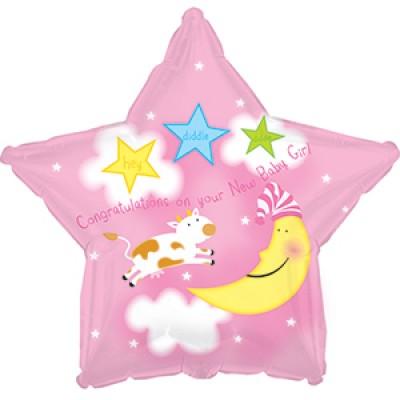 """Фольгированный воздушный шар-звезда """"С рождением Девочка"""" розовый (46 см)"""