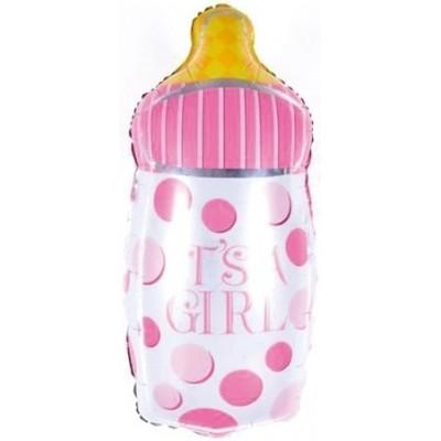 Фольгированный воздушный шар-фигура Бутылочка для малышки розовый (74 см)