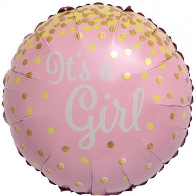Фольгированный воздушный шар-круг С Рождением Девочки (золотое конфетти) розовый (46 см)