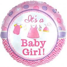Фольгированный воздушный шар-круг С Рождением малышки! розовый (46 см)