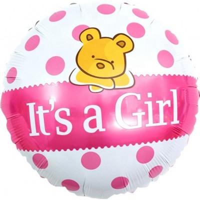 Фольгированный воздушный шар-круг С Рождением Малышки  (плюшевый мишка) розовый (46 см)