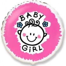 Фольгированный воздушный шар-круг Малышка-девочка розовый (46 см)