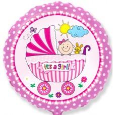 Фольгированный воздушный шар-круг детская коляска для девочки розовый (46 см)