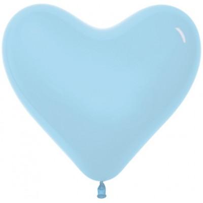 Воздушный шар-сердце светло-голубой пастель (30 см)