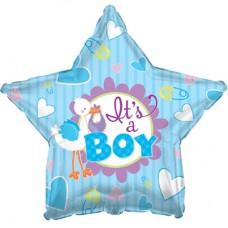 """Фольгированный воздушный шар-звезда """"Аист принес мальчика"""" голубой (46 см)"""