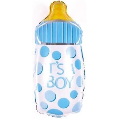 Фольгированный воздушный шар-фигура Бутылочка для малыша голубой (74 см)