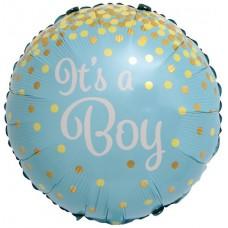 Фольгированный шар-круг С Рождением Мальчика (золотое конфетти) голубой (46 см)