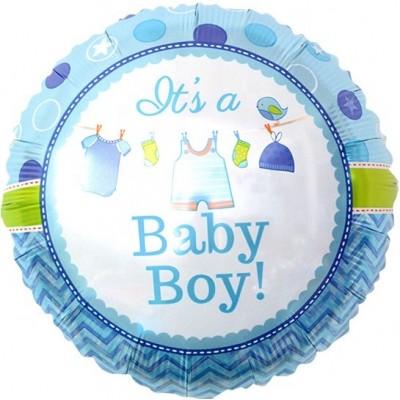 Фольгированный шар-круг С Рождением Малыша! голубой (46 см)