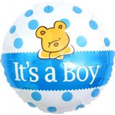 Фольгированный шар-круг С Рождением Малыша! (плюшевый мишка) голубой (46 см)
