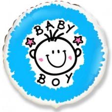 Фольгированный шар-круг Малыш-мальчик (облака) голубой (46 см)