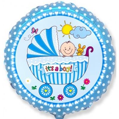 Фольгированный шар-круг Детская коляска для мальчика голубой (46 см)
