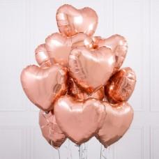 Композиция Сердца розовое золото