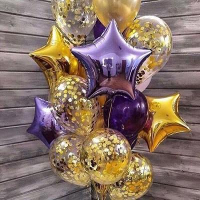 Композиция из шаров с конфетти Золотая сирень