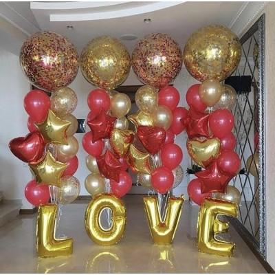 Композиция из шаров с конфетти Любовь и стразы