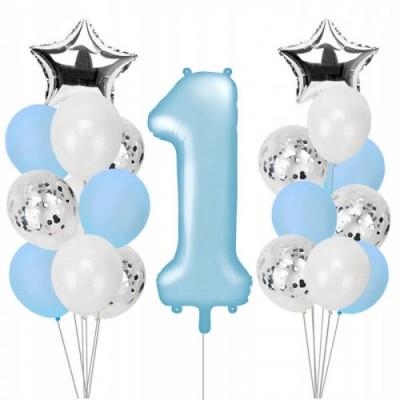 Композиция из шаров с конфетти с цифрой №734