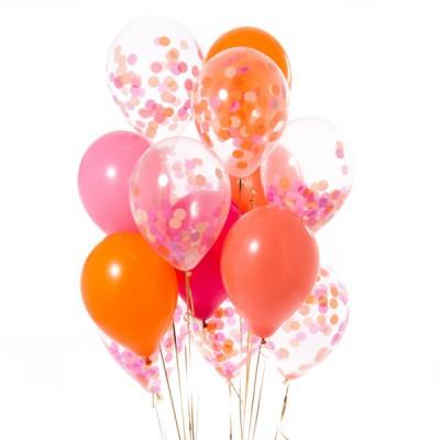 Композиция из шаров с конфетти Фламинго
