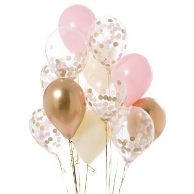 Композиция из шаров с конфетти Розовая малютка