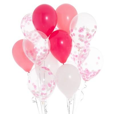 Композиция из шаров с конфетти Принцесса в розовом