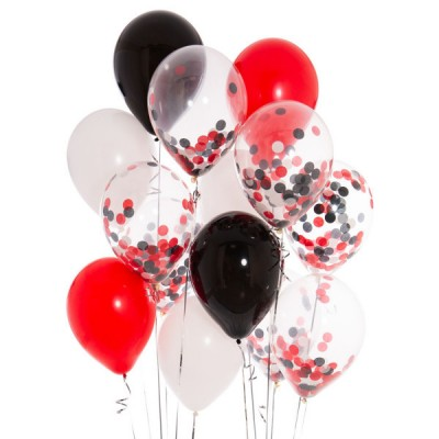 Композиция с шарами с конфетти Красно-белое