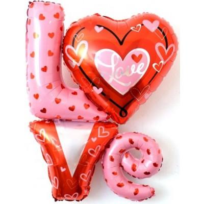 """Фольгированный шар-фигура надпись """"LOVE"""" с сердечками (104 см)"""