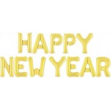 """Набор шаров-букв мини-надпись """"Happy New Year"""" золото (41 см)"""